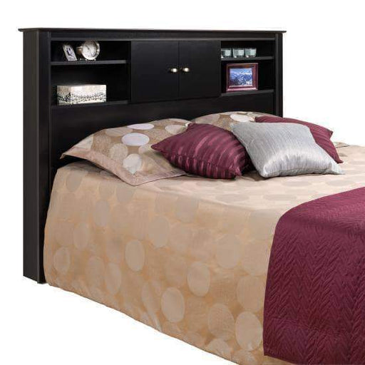 Prepac Kallisto Bedroom Black Kallisto Bookcase Headboard with Doors