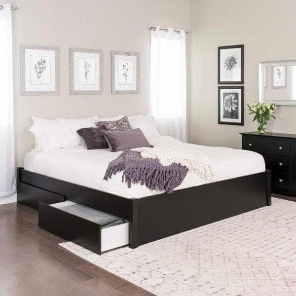 Prepac King / Black Select 4-Post Platform Bed with 2 Drawers - Multiple Options Available