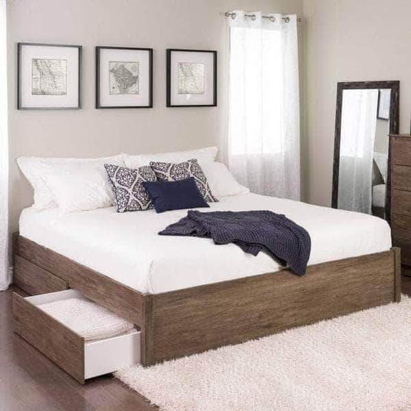 Prepac King / Drifted Grey Select 4-Post Platform Bed with 4 Drawers - Multiple Options Available