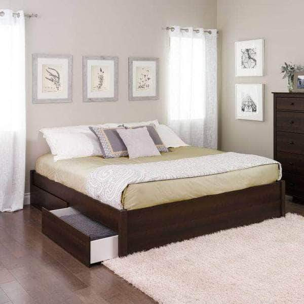 Prepac King / Espresso Select 4-Post Platform Bed with 2 Drawers - Multiple Options Available