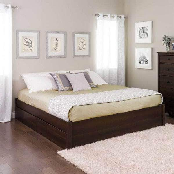 Prepac King / Espresso Select 4-Post Platform Bed with 4 Drawers - Multiple Options Available