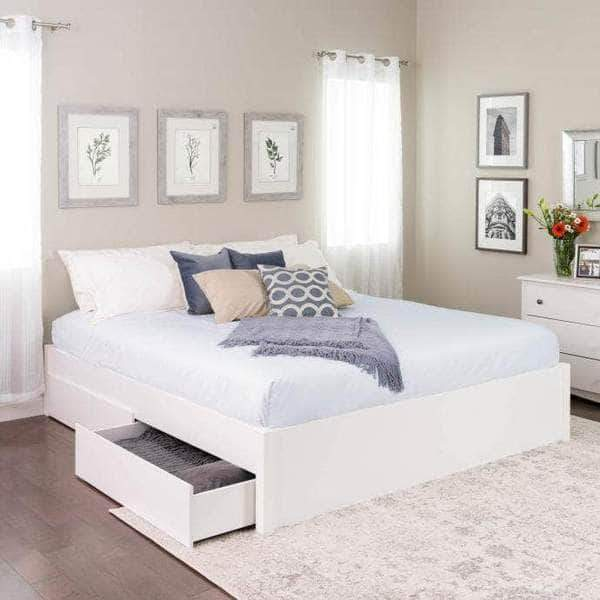 Prepac King / White Select 4-Post Platform Bed with 2 Drawers - Multiple Options Available