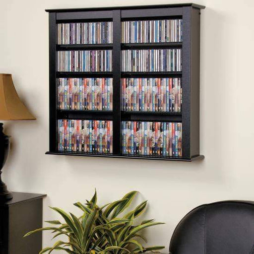Prepac Multimedia Storage Black Double Wall Mounted Storage
