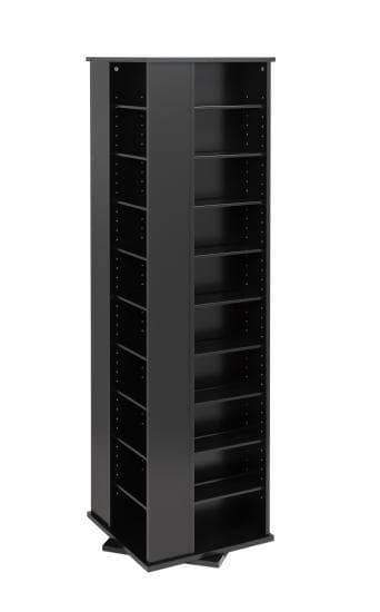 Prepac Multimedia Storage Black Large Four Sided Spinning Tower - Multiple Options Available
