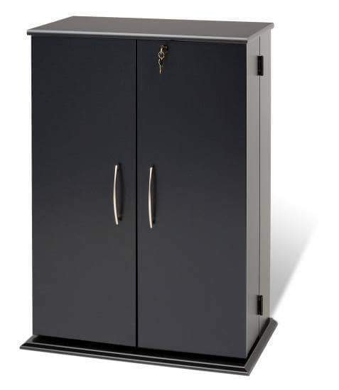 Prepac Multimedia Storage Black Locking Media Storage Cabinet