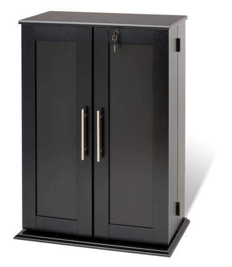 Prepac Multimedia Storage Black Locking Media Storage Cabinet with Shaker Doors - Multiple Options Available