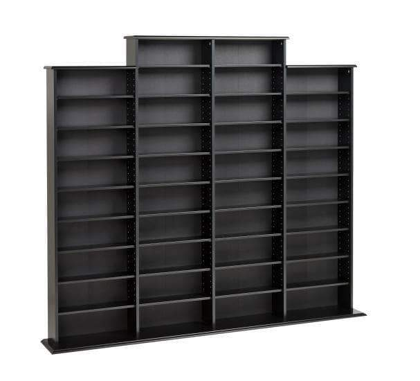 Prepac Multimedia Storage Black Quad Width Wall Storage