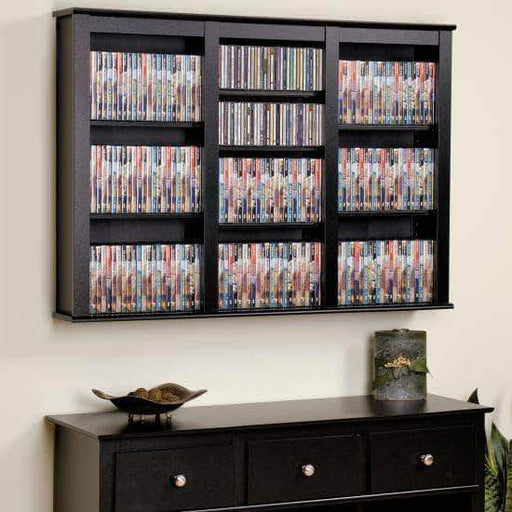 Prepac Multimedia Storage Black Triple Wall Mounted Storage - Multiple Options Available