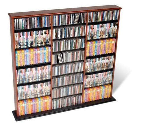 Prepac Multimedia Storage Cherry and Black Triple Width Wall Storage - Multiple Options Available