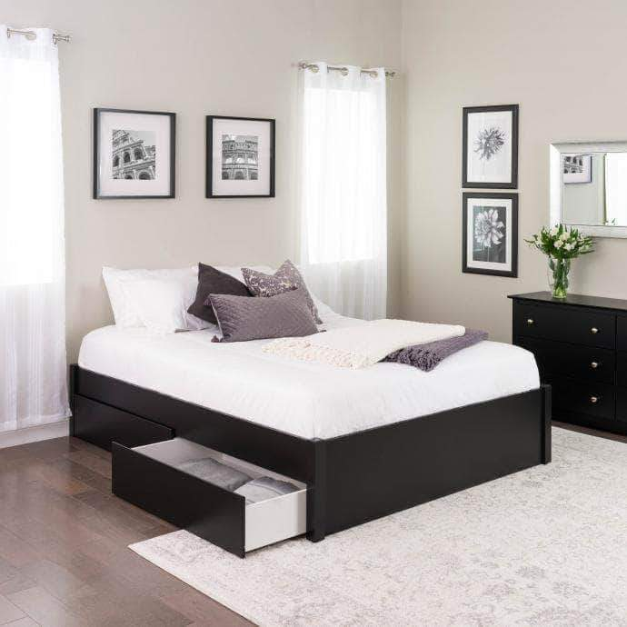 Prepac Queen / Black Select 4-Post Platform Bed with 2 Drawers - Multiple Options Available