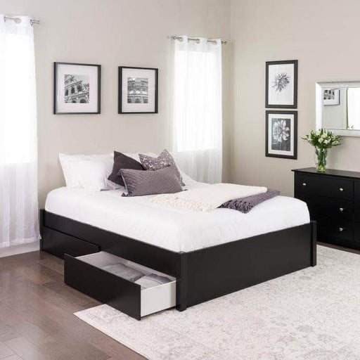 Prepac Queen / Black Select 4-Post Platform Bed with 4 Drawers - Multiple Options Available