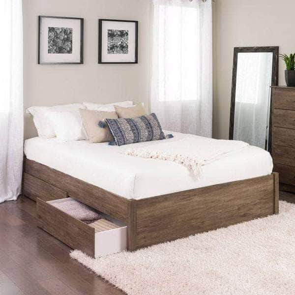 Prepac Queen / Drifted Grey Select 4-Post Platform Bed with 4 Drawers - Multiple Options Available