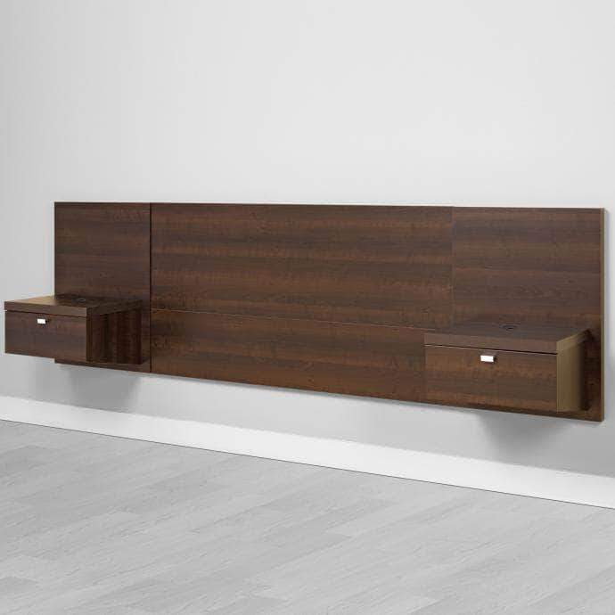 Prepac Queen / Espresso Floating Headboard with Nightstands - Multiple Options Available