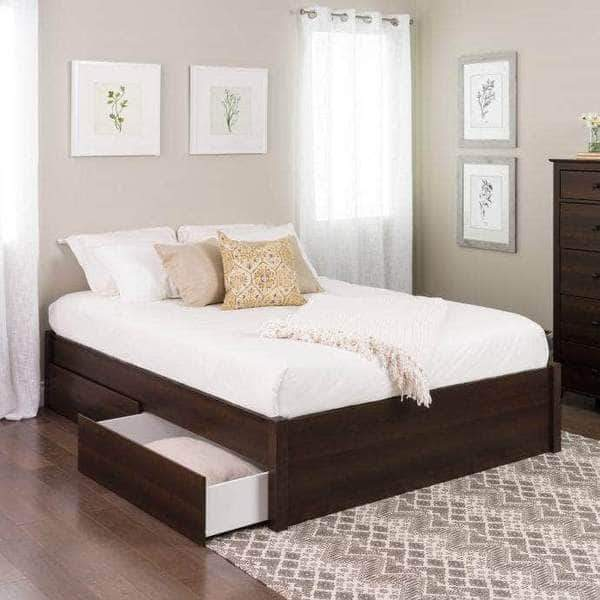 Prepac Queen / Espresso Select 4-Post Platform Bed with 2 Drawers - Multiple Options Available