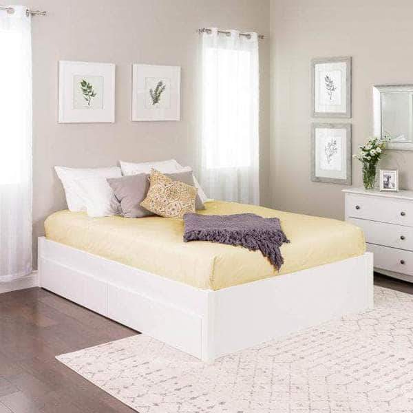 Prepac Queen / White Select 4-Post Platform Bed with 2 Drawers - Multiple Options Available