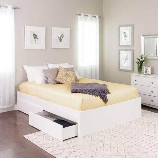 Prepac Queen / White Select 4-Post Platform Bed with 4 Drawers - Multiple Options Available