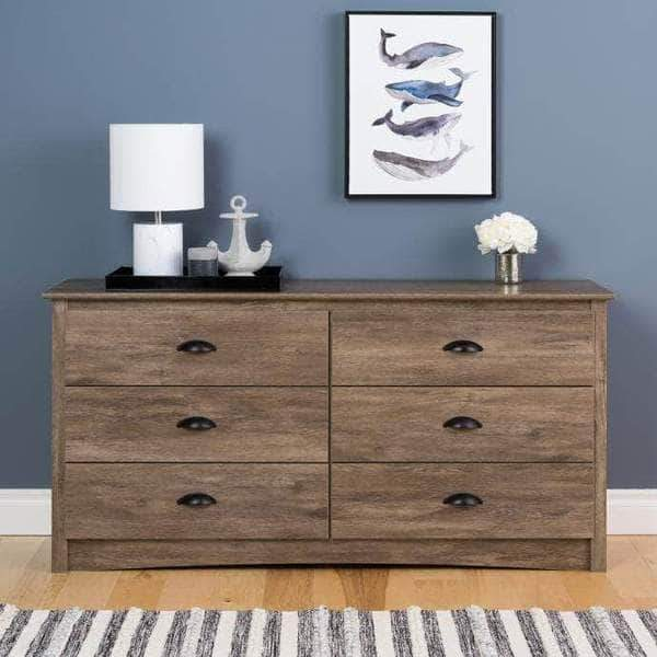 Prepac Riverdale Bedroom Drifted Grey Riverdale 6 Drawer Chest - Multiple Options Available