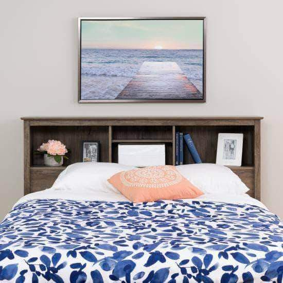 Prepac Riverdale Bedroom Drifted Grey Riverdale Double / Queen Bookcase Headboard - Multiple Options Available