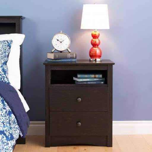 Prepac Riverdale Bedroom Washed Black Riverdale 2-Drawer Nightstand - Multiple Options Available