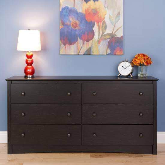 Prepac Riverdale Bedroom Washed Black Riverdale 6 Drawer Chest - Multiple Options Available