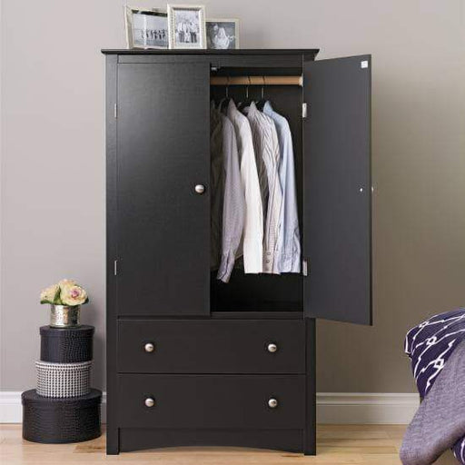 Prepac Sonoma Bedroom Black Sonoma 2 Door Armoire - Multiple Options Available