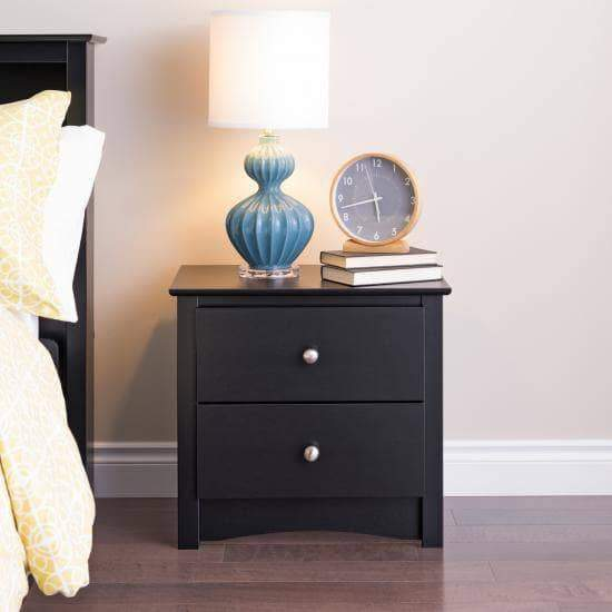 Prepac Sonoma Bedroom Black Sonoma 2 Drawer Nightstand - Multiple Options Available