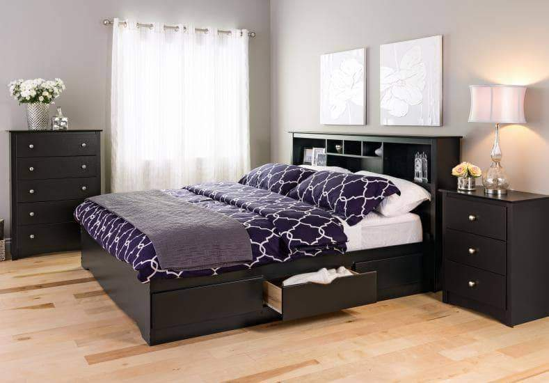 Prepac Sonoma Bedroom Black Sonoma 3-drawer Tall Nightstand - Multiple Options Available