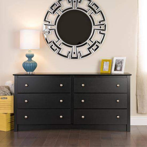 Prepac Sonoma Bedroom Black Sonoma 6 Drawer Dresser - Multiple Options Available