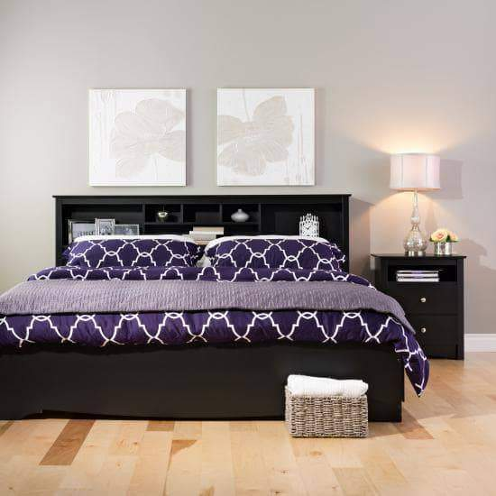 Prepac Sonoma Bedroom Black Sonoma Tall 2 Drawer Nightstand with Open Shelf - Multiple Options Available