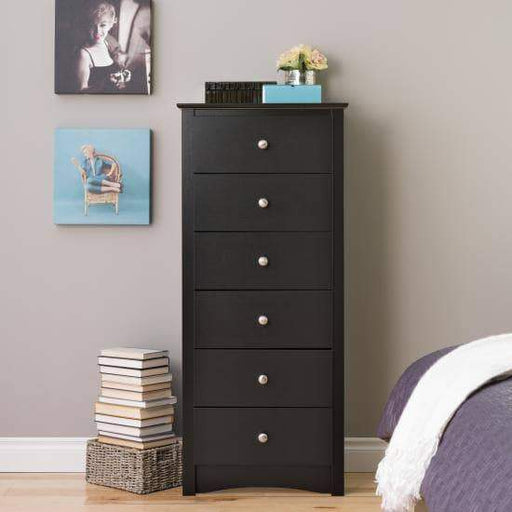 Prepac Sonoma Bedroom Black Sonoma Tall 6 Drawer Chest - Multiple Options Available