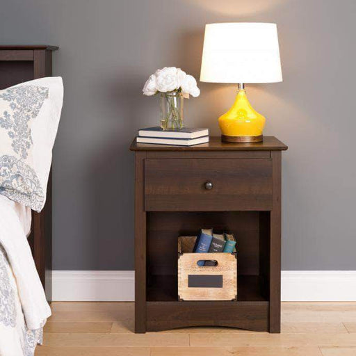 Prepac Sonoma Bedroom Espresso Sonoma 1-Drawer Tall Nightstand - Multiple Options Available