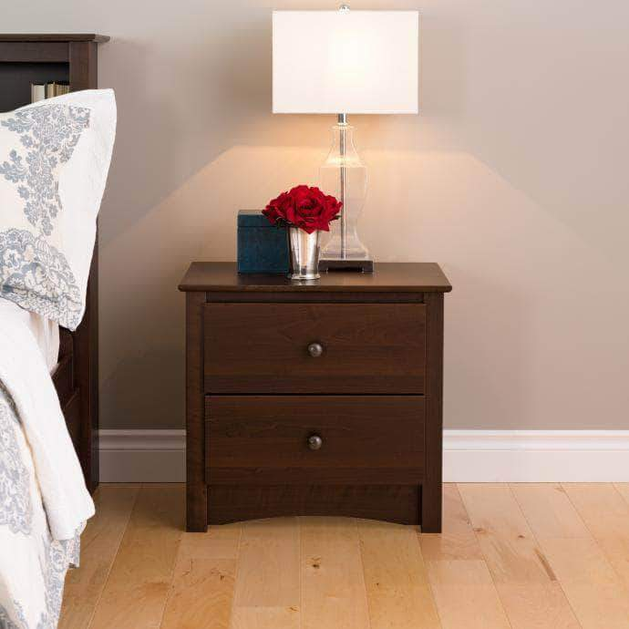 Prepac Sonoma Bedroom Espresso Sonoma 2 Drawer Nightstand - Multiple Options Available