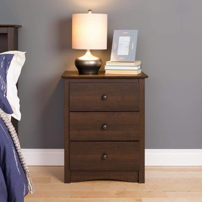 Prepac Sonoma Bedroom Espresso Sonoma 3-drawer Tall Nightstand - Multiple Options Available