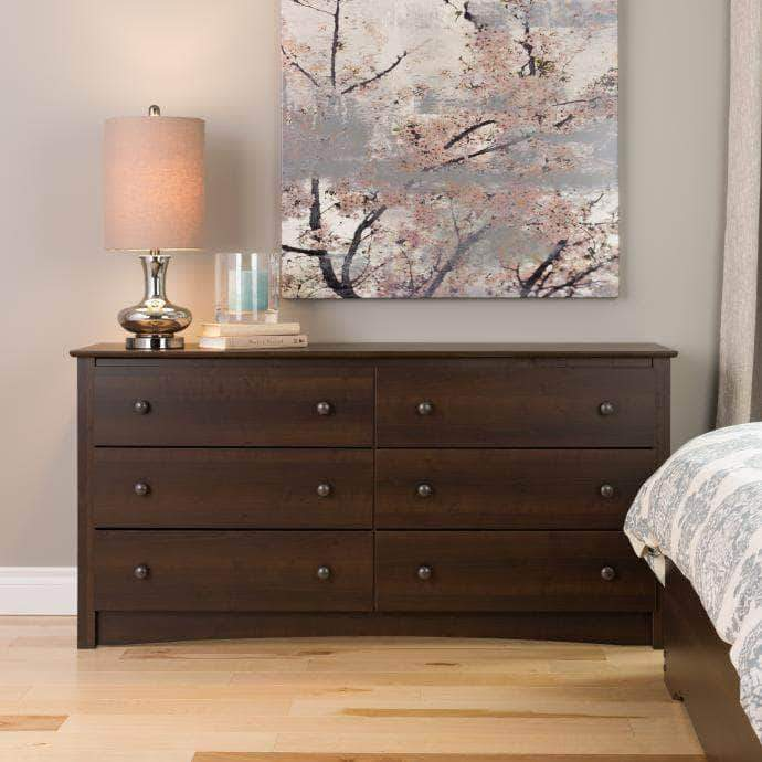 Prepac Sonoma Bedroom Espresso Sonoma 6 Drawer Dresser - Multiple Options Available