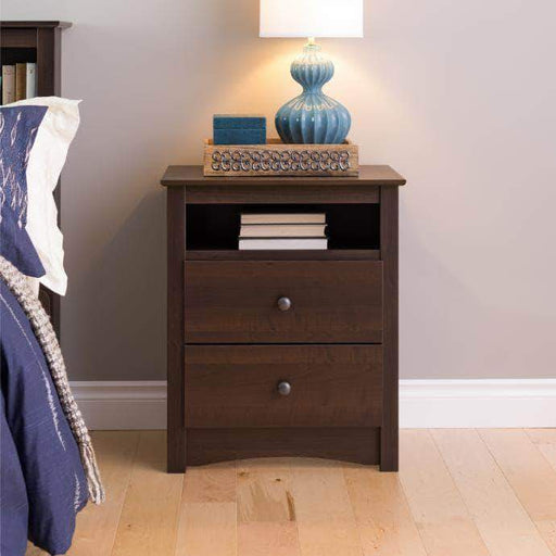 Prepac Sonoma Bedroom Espresso Sonoma Tall 2 Drawer Nightstand with Open Shelf - Multiple Options Available