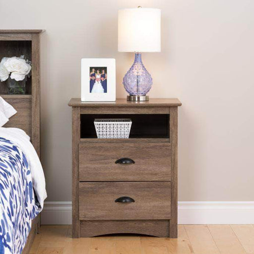 Prepac Sonoma Bedroom Grey Sonoma Tall 2 Drawer Nightstand with Open Shelf - Multiple Options Available