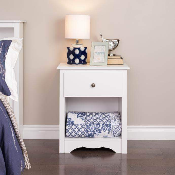 Prepac Sonoma Bedroom White Sonoma 1-Drawer Tall Nightstand - Multiple Options Available