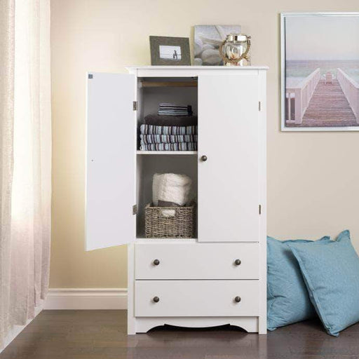 Prepac Sonoma Bedroom White Sonoma 2 Door Armoire - Multiple Options Available