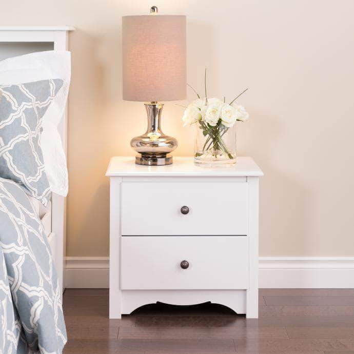 Prepac Sonoma Bedroom White Sonoma 2 Drawer Nightstand - Multiple Options Available