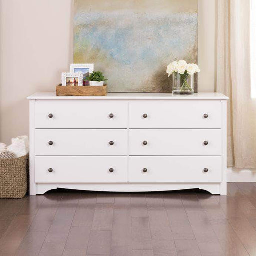 Prepac Sonoma Bedroom White Sonoma 6 Drawer Dresser - Multiple Options Available