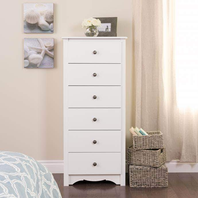 Prepac Sonoma Bedroom White Sonoma Tall 6 Drawer Chest - Multiple Options Available