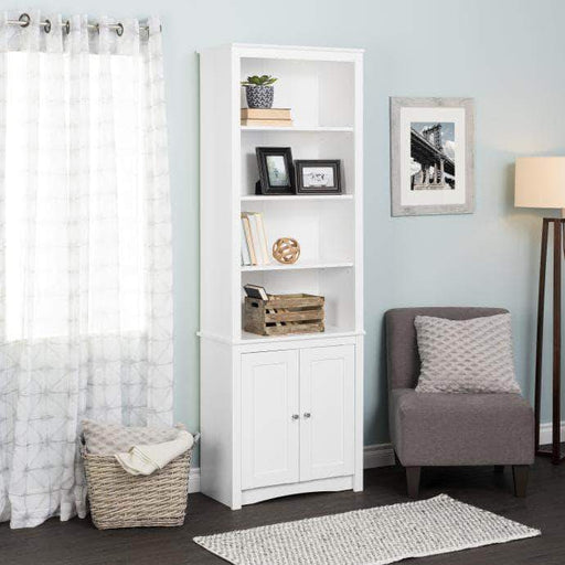 Prepac Tall Bookcase with 2 Shaker Doors, White