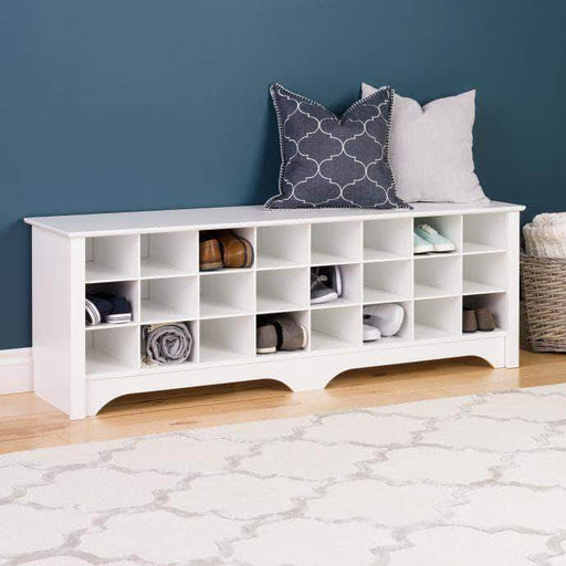Prepac White 24 pair Shoe Storage Cubby Bench - Multiple Options Available