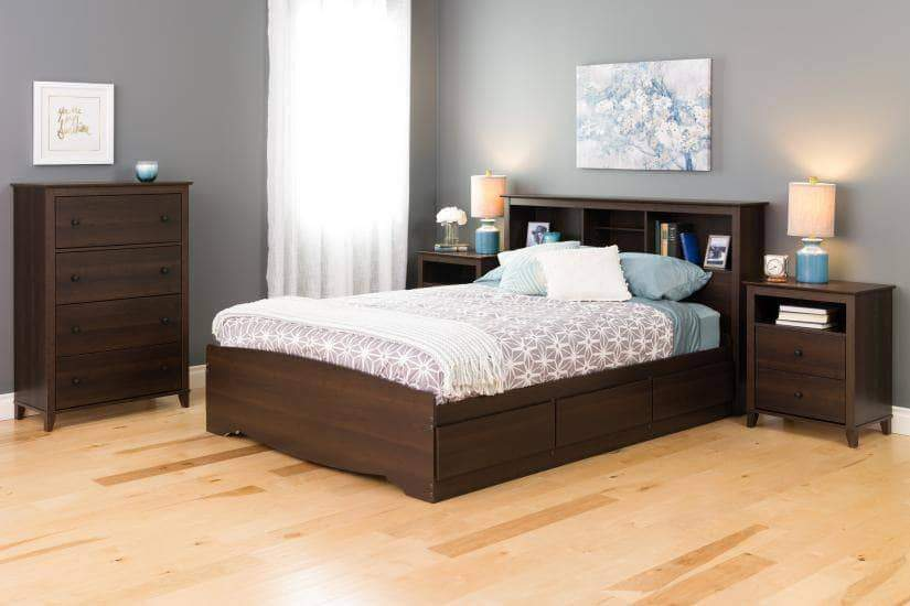 Prepac Yaletown Bedroom Collection Espresso Yaletown 2-Drawer Tall Nightstand - Multiple Options Available