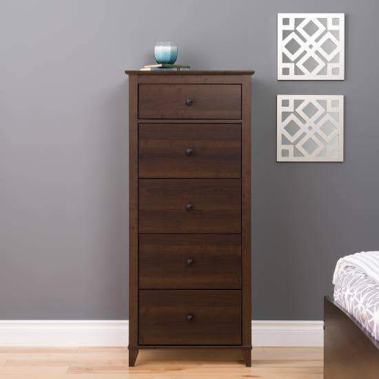 Prepac Yaletown Bedroom Collection Espresso Yaletown 5-Drawer Tall Chest - Multiple Options Available