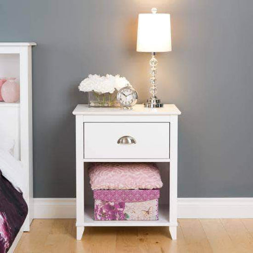 Prepac Yaletown Bedroom Collection White Yaletown 1-Drawer Tall Nightstand - Multiple Options Available