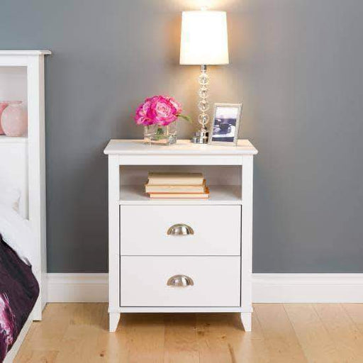 Prepac Yaletown Bedroom Collection White Yaletown 2-Drawer Tall Nightstand - Multiple Options Available