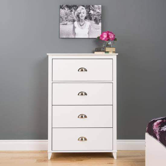 Prepac Yaletown Bedroom Collection White Yaletown 4-Drawer Chest - Multiple Options Available