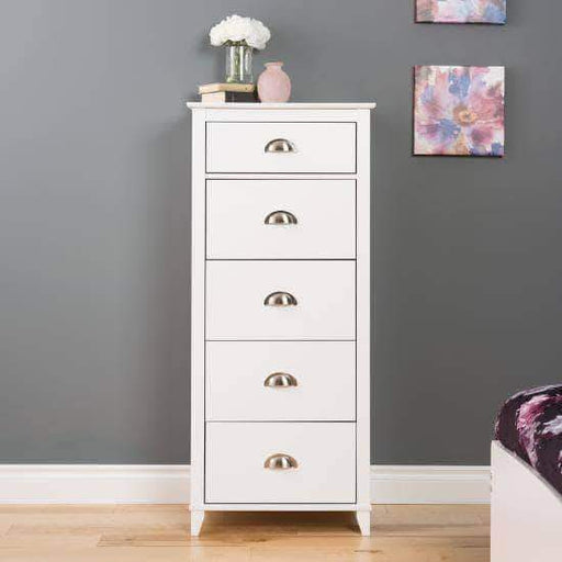 Prepac Yaletown Bedroom Collection White Yaletown 5-Drawer Tall Chest - Multiple Options Available