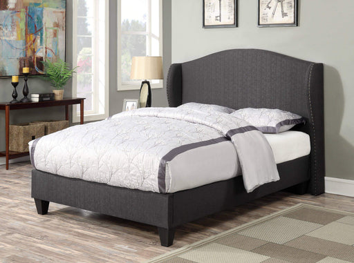 Primo International Bed Queen Bed Zamora Complete Platform Bed Upholstered in Tweed Fabric